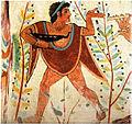 Danseur avec une coupe de vin Tombe oes Leopards, Tarquinia.jpg