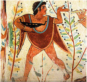 Etruscan society - Etruscan dancer, Tomb of the Leopards, Tarquinia, Italy