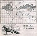 Das Kürschner-Handwerk, II. Auflage 3. Teil, S. 44, Weltkarte Verbreitung der Silberfüchse und der Kreuzfüchse (1910).jpg