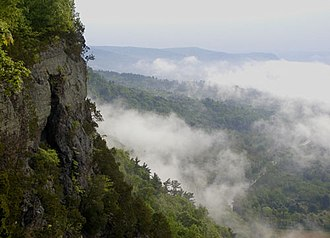 Minisink - Fog surrounds cliffs looming over the Delaware River whose valley is the core of the historic Minisink region