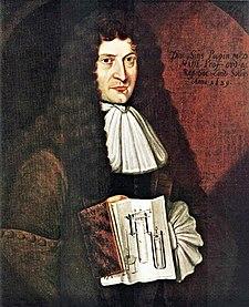 Denis Papin na obrazu neznámého autora z roku 1689