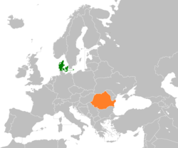 Map indicating locations of Denmark and Romania