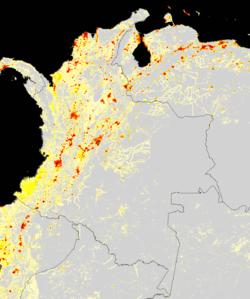 Densidad de población en Colombia.