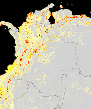Demographics of Colombia - The population density of Colombia. Red showing concentration of population.