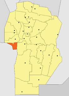 Location o San Javier Depairtment in Córdoba Province