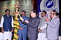Dipak Misra lighting the lamp to inaugurate the function, on the occasion of Bhoomi Pujan for laying the foundation stone for a new building to house the Income Tax Appellate Tribunal.jpg
