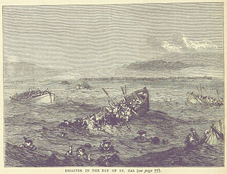 Battle of Saint Cast - A landing boat sinks as the British retreat