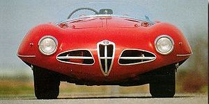 Alfa Romeo Disco Volante - Front view of the 1952 Disco Volante Spider, highlighting the lenticular cross-section of the body.