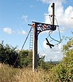 Disused railway signal gantry, Willoughby - geograph.org.uk - 1393110.jpg