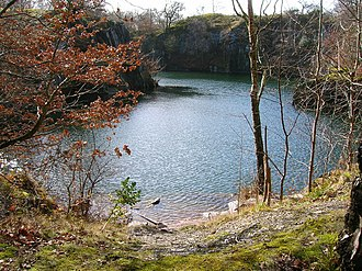 Swithland Wood and The Brand - Disused slate quarry in Swithland Wood