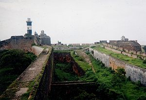 Fort Diu - Diu, inside the fort – Light house and the moat