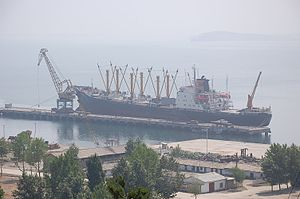 Sanctions against North Korea - A North Korea cargo ship at the dock in Nampo