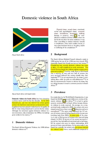 thesis on domestic violence in south africa Domestic violent was not considered a domestic violence essays violence against immigrant women in south asian, african and korean communities instructor.