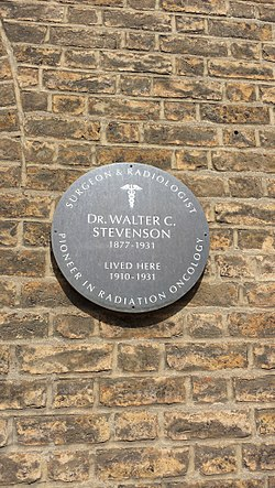 Photo of Walter C. Stevenson brown plaque