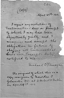 Draft copy of a letter from Fr. O'Flanagan to Bishop Coyne, 29th April 1919.