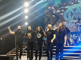 Dream Theater in 2020. From left to right: John Petrucci, James LaBrie, Mike Mangini, Jordan Rudess and John Myung.