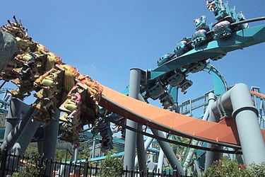 Dragon Challenge was the world's only dueling steel-inverted roller coaster until it was demolished in 2017. It was located at Universal Orlando's Islands of Adventure theme park in Orlando, Florida. DuelingDragonsCS.jpg