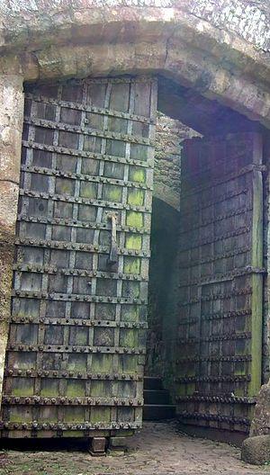 Dunster Castle - Original 13th-century gate, bound in iron