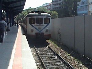 Istanbul suburban - A train arriving at Sirkeci station, with E8000 EMUs, in June 2007.
