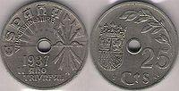 25 céntimos de 1937 del bando sublevado.
