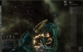 Fleet combat in EVE. Each ship is highlighted with a square.
