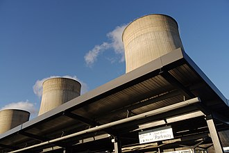 East Midlands Parkway railway station - East Midlands Parkway is built next to Ratcliffe-on-Soar power station