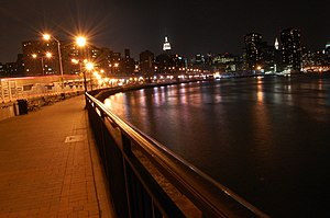 East River Greenway - The narrow portion of the Greenway, at 18th Street, at night in 2009