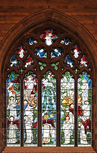 Church of All Hallows, Allerton - Image: East window of All Hallows, Allerton Adoration of the Lamb