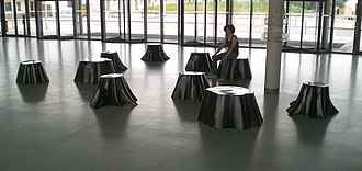 """Conservation and restoration of plastic objects - Eberhard Bosslet 2001 Biomorph sculptures """"Stool Archipelago"""", """"Island of Growth"""", """"stump stools"""" are groups of sculptures made of fiberglass plastic on the basis of known organic forms. Dresden"""