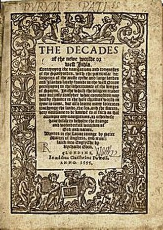 Decades of the New World - Title page of Richard Eden's translation of Peter Martyr's Decades of the New World (1555).