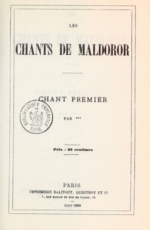Les Chants de Maldoror - Cover of the first French edition