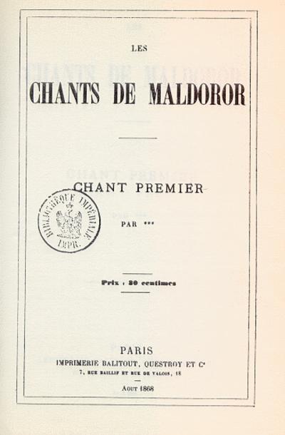 Picture of a book: Les Chants De Maldoror