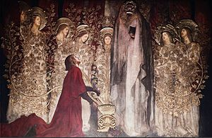 Galahad - A 1895 painting by Edwin Austin Abbey shows the Sir Galahad discovering the Holy Grail