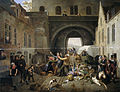 Een aanrijding bij de Halpoort te Brussel (Alcoholsmokkel) Rijksmuseum SK-A-1020.jpeg