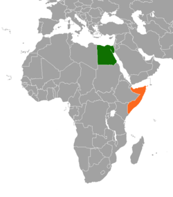 Map indicating locations of Egypt and Somalia