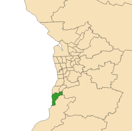 Map of Adelaide, South Australia with electoral district of Kaurna highlighted