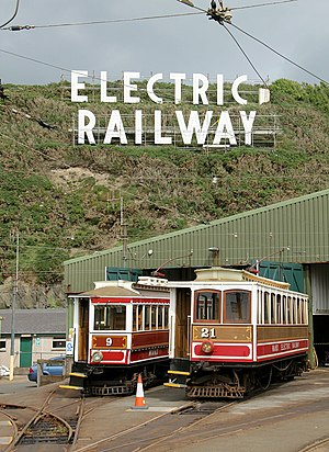 Manx Electric Railway - Cars, shed and sign at Derby Castle