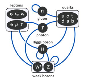 Standard Model - Summary of interactions between particles described by the Standard Model