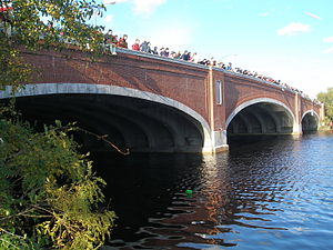 English: The Eliot Bridge over the Charles Riv...