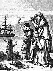 Antique engraving of 'Emigrants leaving Ireland'