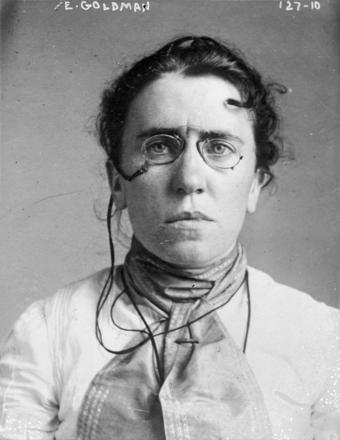 Mug shot taken in 1901 when Goldman was implicated in the assassination of President McKinley. Emma Goldman 1901 mugshot (single portrait).png