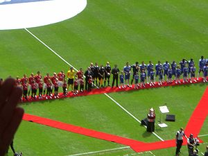2007 FA Cup Final - The two teams line up prior to kick-off.