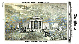Euston Arch - Entrance Front of the London Station by C.F. Cheffins, published  3 April 1837.