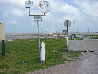 Texas City Dike - Entrance to Texas City Dike on April 26, 2009. The dike was closed for repairs for almost two years due to damage from Hurricane Ike.