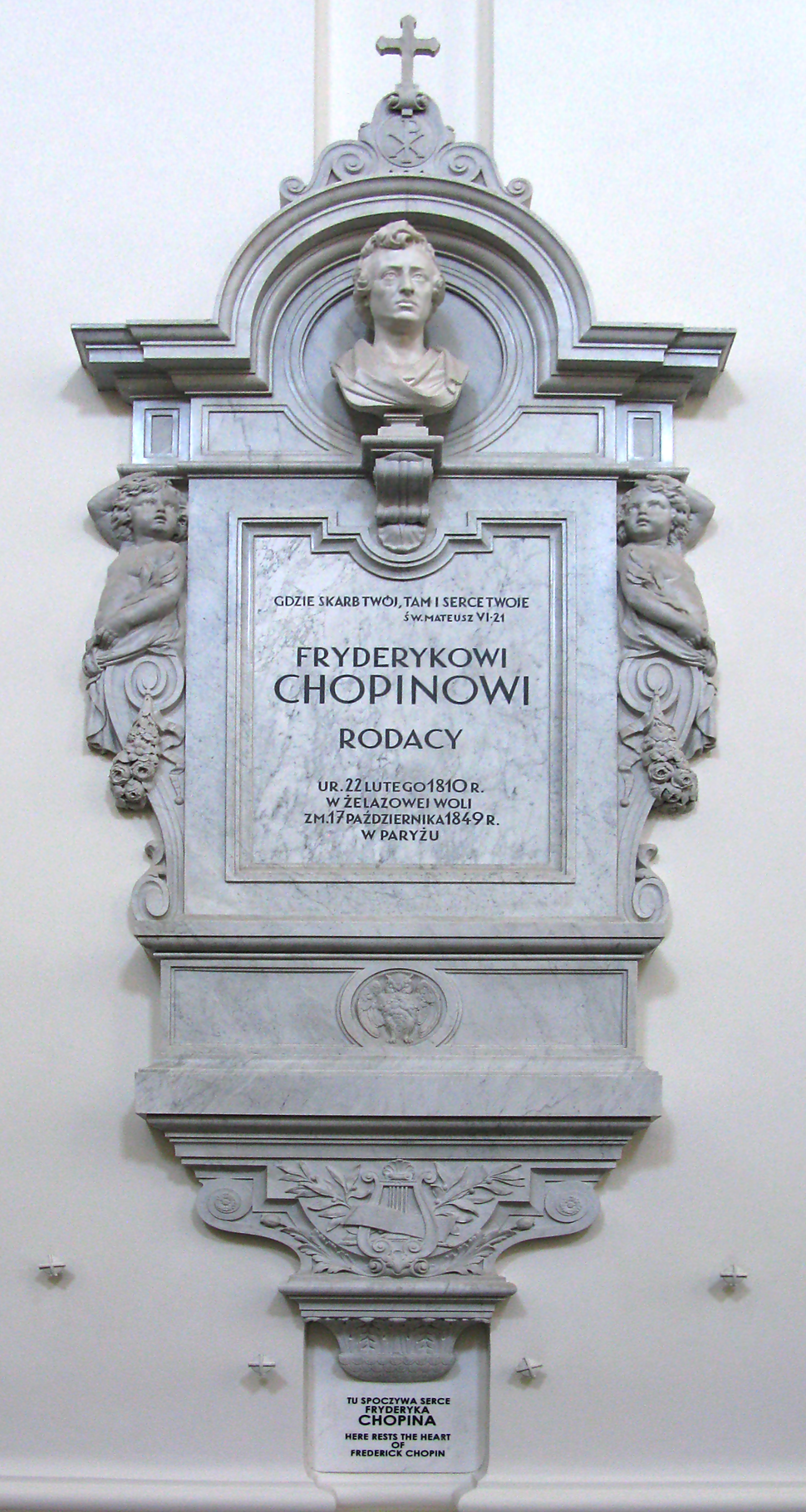 Epitaph for heart of Frédéric Chopin in Holy Cross Church in Warsaw