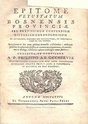 Filip Lastrić - Front page of Epitome vetustatum Bosnensis provinciae