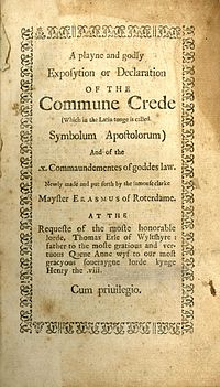 A Playne and Godly Exposition or Declaration of the Commune Crede cover