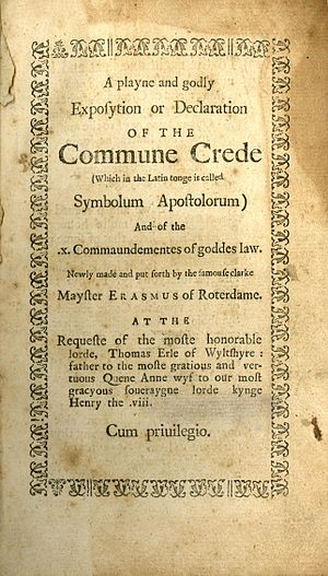 A Playne and Godly Exposition or Declaration of the Commune Crede - Title page to second printing.