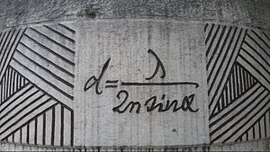 STED microscopy - Ernst Abbe's formula for the diffraction limit, set in stone at a monument in Jena.