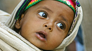 English: An Ethiopian baby in the northern Tig...